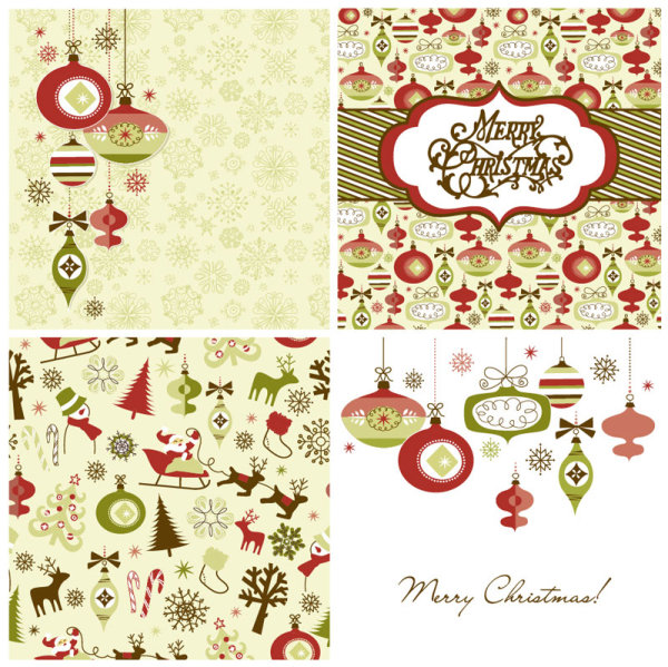 Free clipart christmas patterns clip library download Vector set of Christmas style pattern Illustration 04 - Free ... clip library download