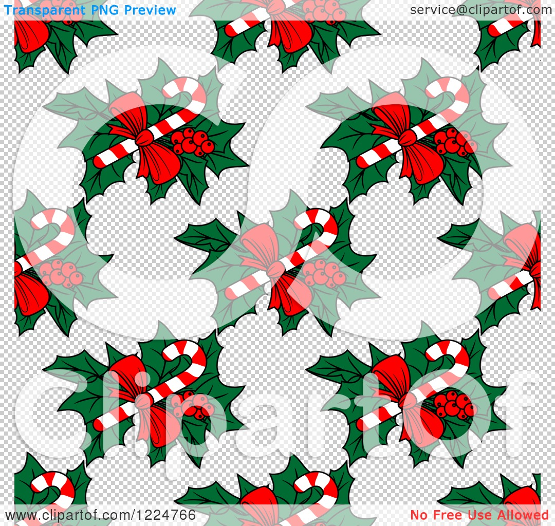 Free clipart christmas patterns image stock Clipart of a Seamless Christmas Pattern of Candy Canes and Holly ... image stock
