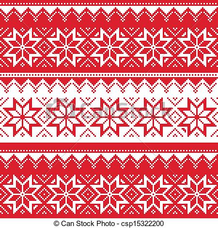 Free clipart christmas patterns black and white Vector Clipart of Nordic seamless christmas pattern - Winter ... black and white