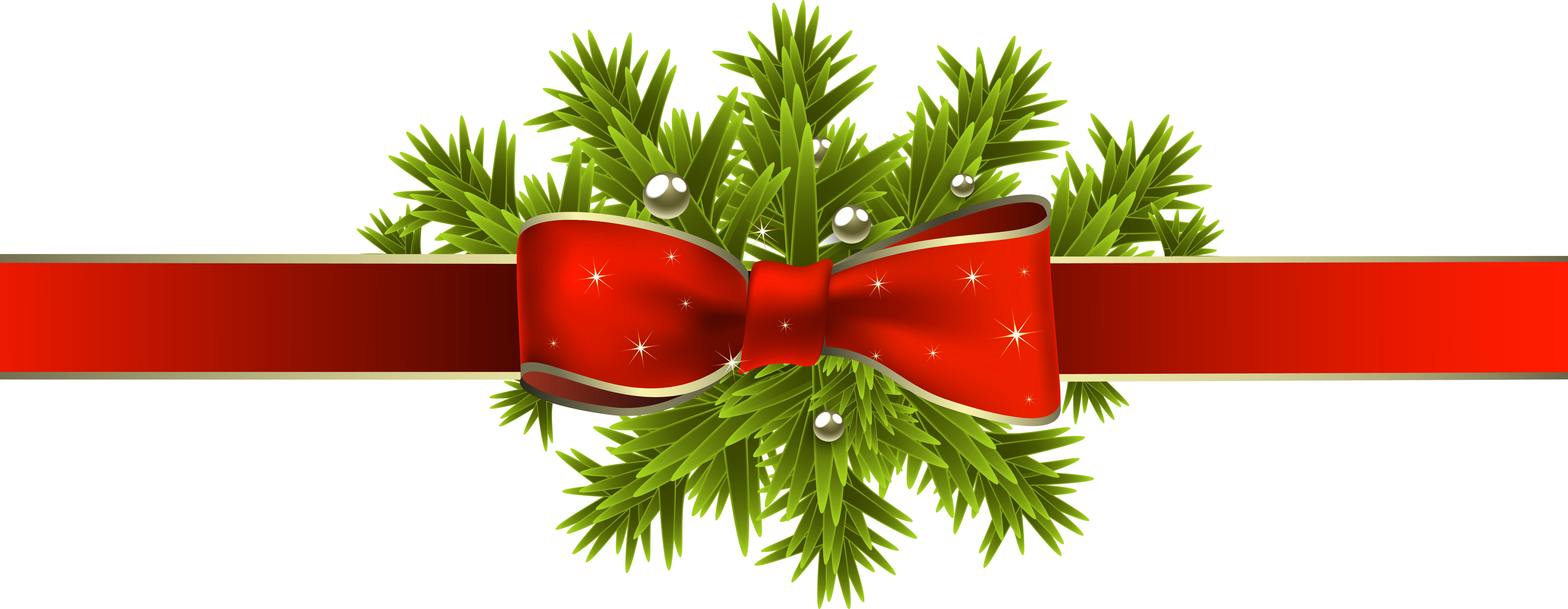Christmas tree branch clipart clipart transparent Red Christmas Ribbon with Pine Branches PNG Clipart Image clipart transparent