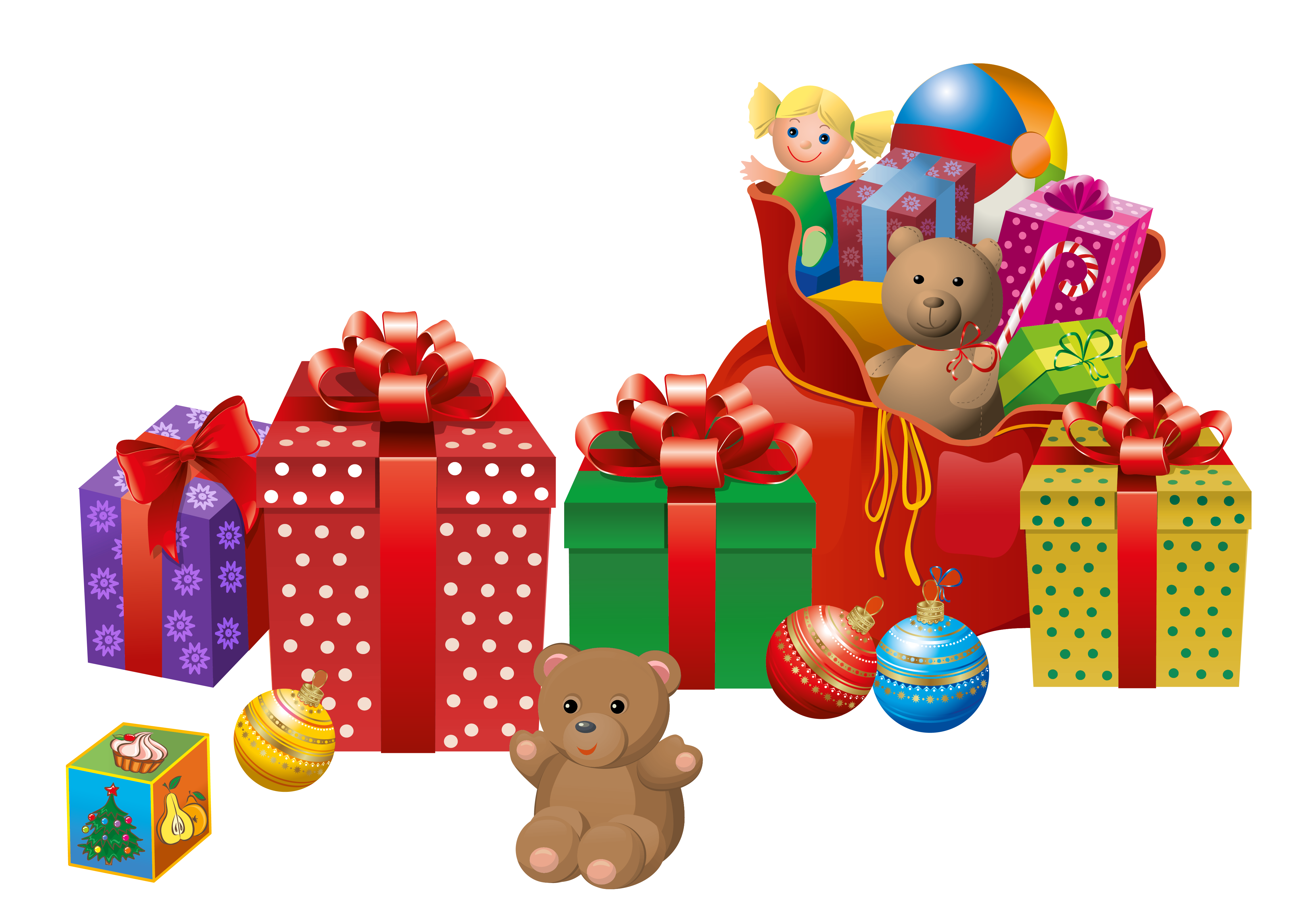 Free clipart christmas toys royalty free library Transparent Christmas Presents PNG Clipart | Gallery Yopriceville ... royalty free library