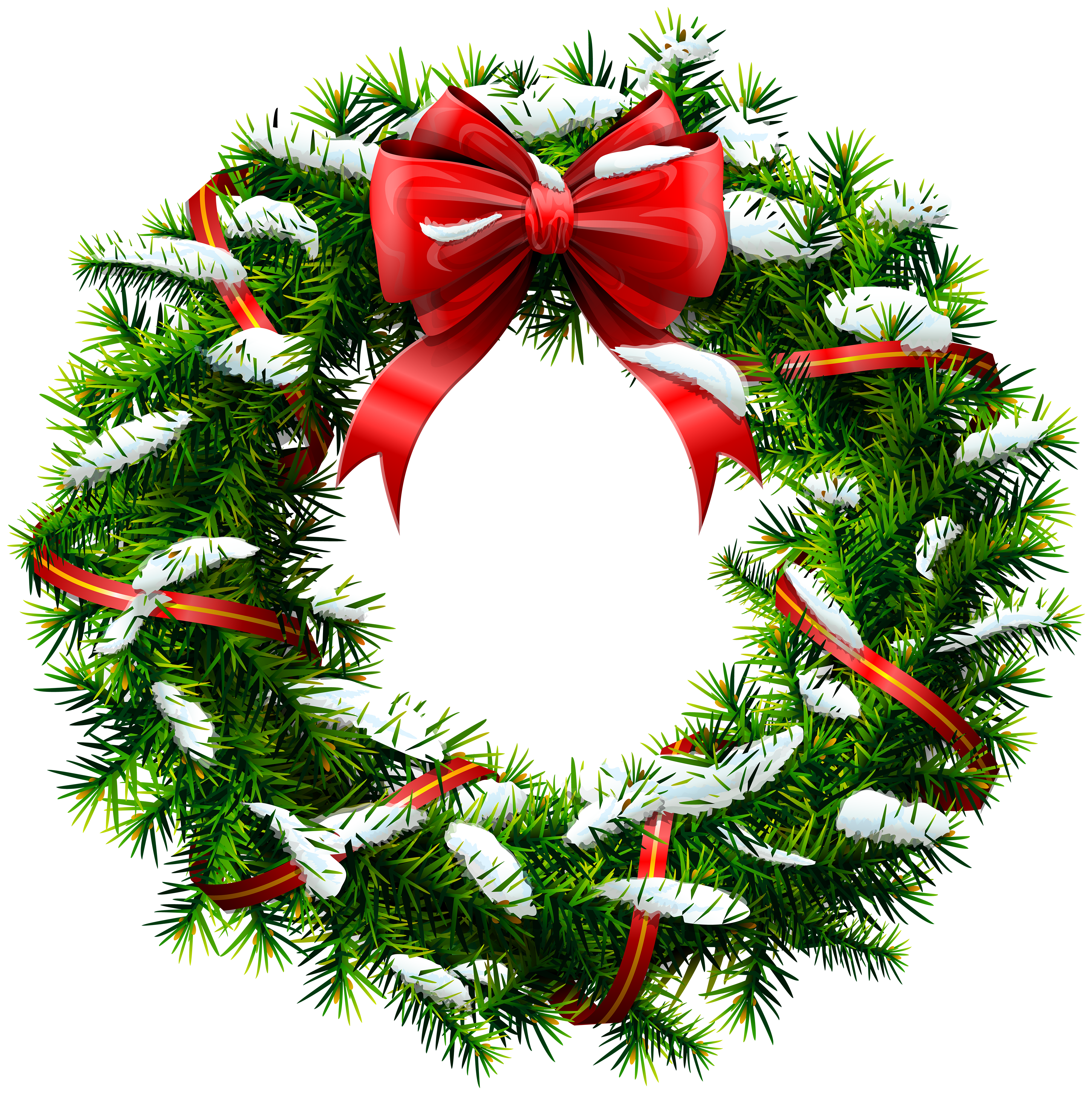 Free clipart christmas wreath freeuse stock Christmas Wreath with Snow PNG Clip Art | Gallery Yopriceville ... freeuse stock