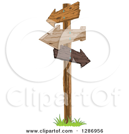 Free clipart cross with arrow jpg black and white Clipart of a Post with Wooden Arrow Signs Pointing in Different ... jpg black and white