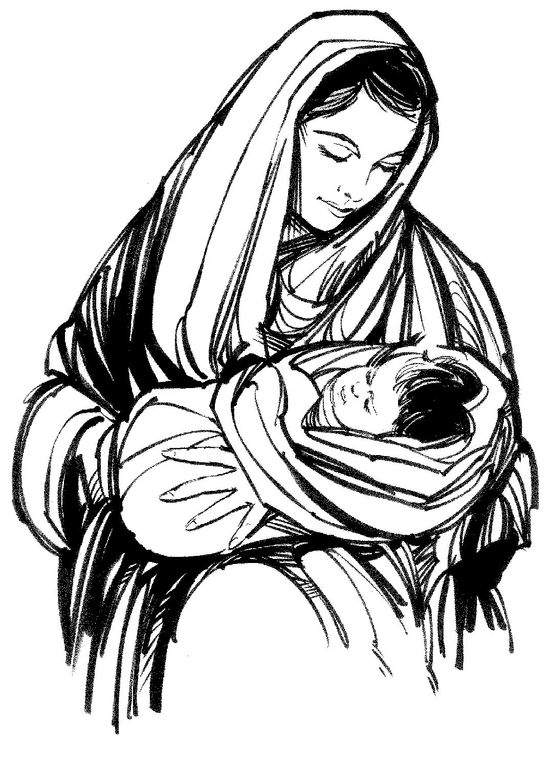 Mother of jesus clipart banner royalty free download Image result for mother mary black and white drawings | Drawings ... banner royalty free download