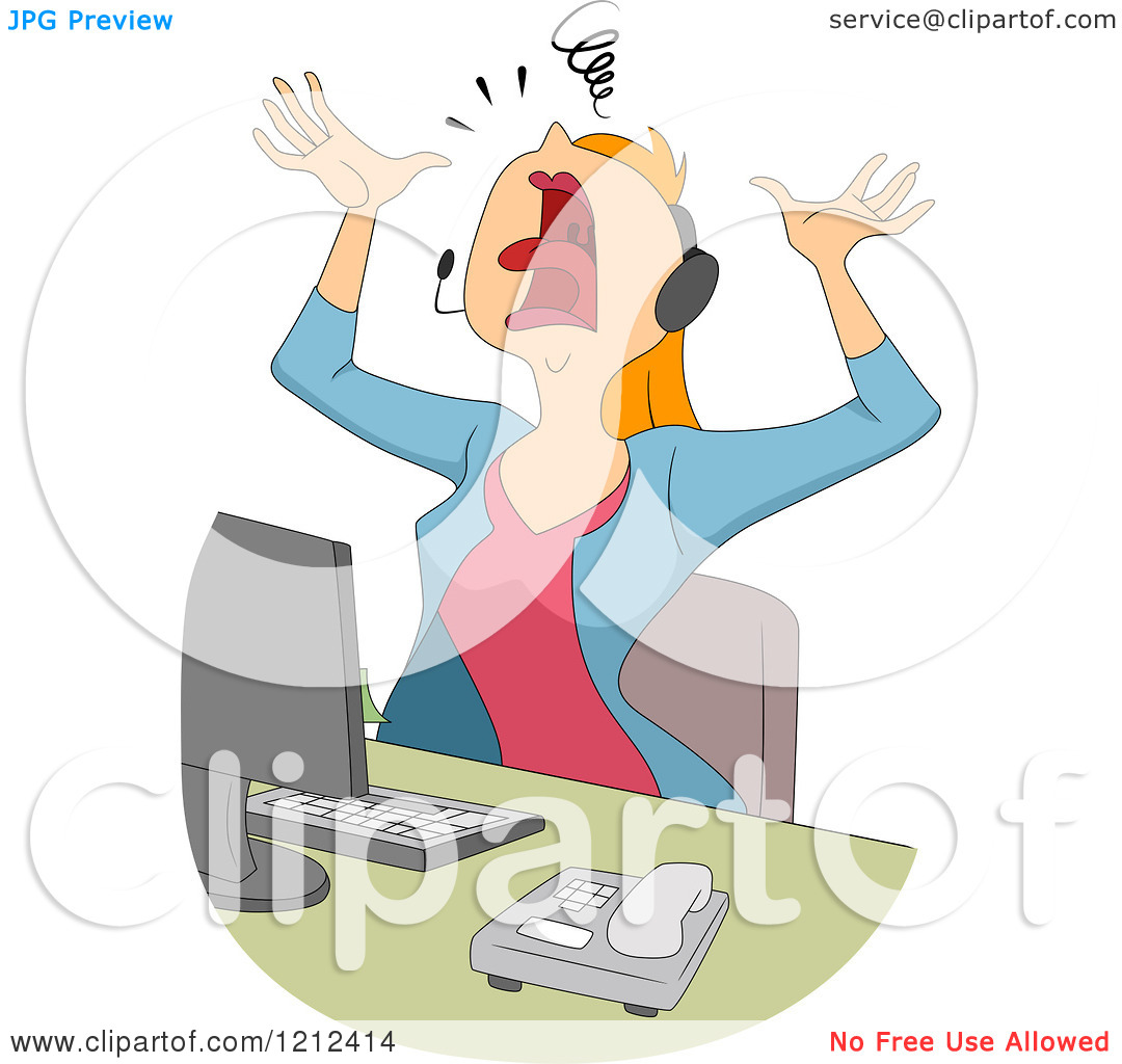 Free clipart customer service representatives clip art library library Cartoon of a Stressed Female Customer Service Call Center ... clip art library library