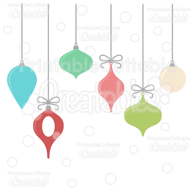 Free clipart cut files jpg black and white library Hanging Christmas Ornaments Free SVG Cut Files Clipart jpg black and white library