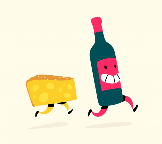 Free clipart cute hound wine & cheese vector royalty free download Running snacks. Vector | Premium Download vector royalty free download