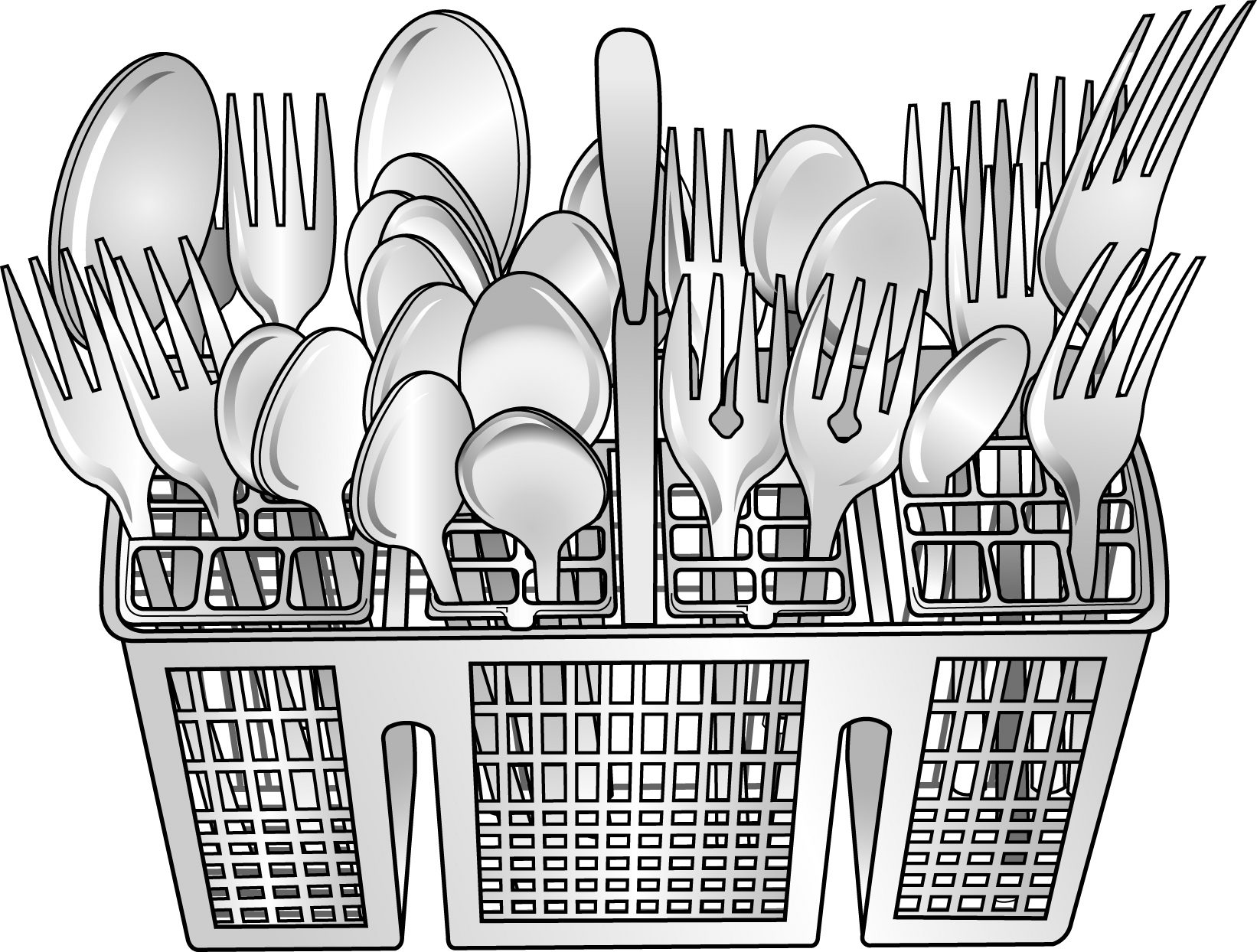 Cliparts download clip art. Free clipart dirty silverware in the dishwasher