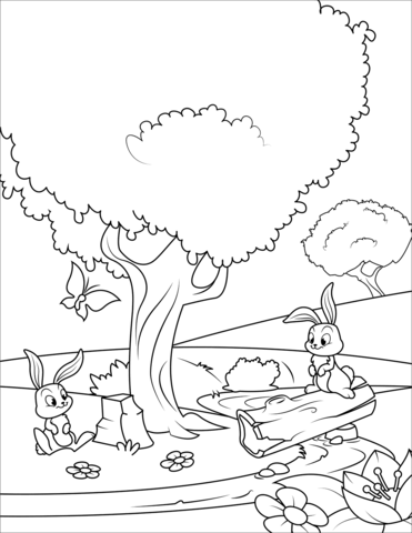 Spring coloring page printable. Free clipart drawings of rabbits in the forest