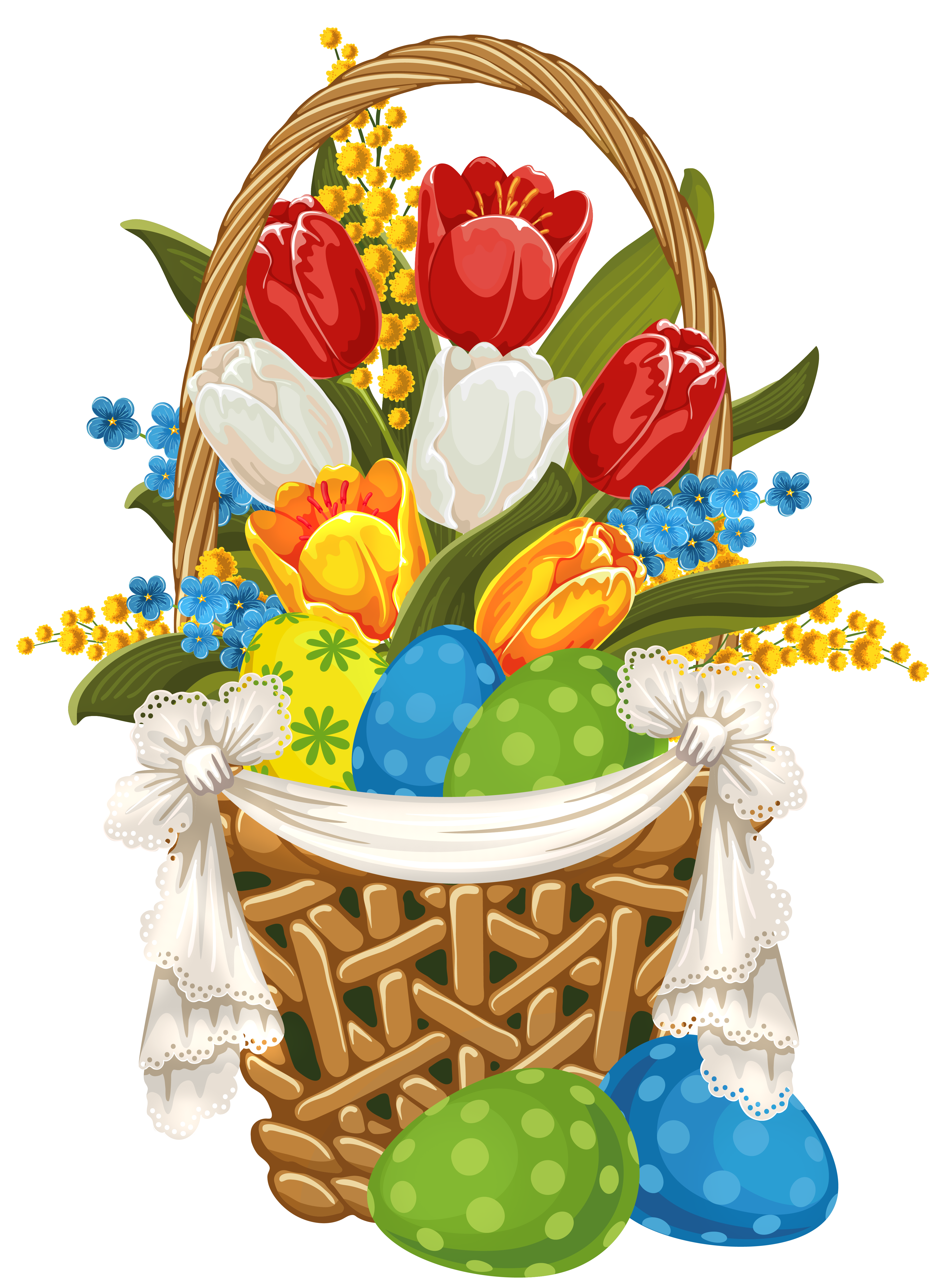 Free clipart easter basket svg black and white library Painted Easter Basket with Easter Eggs PNG Clipart svg black and white library