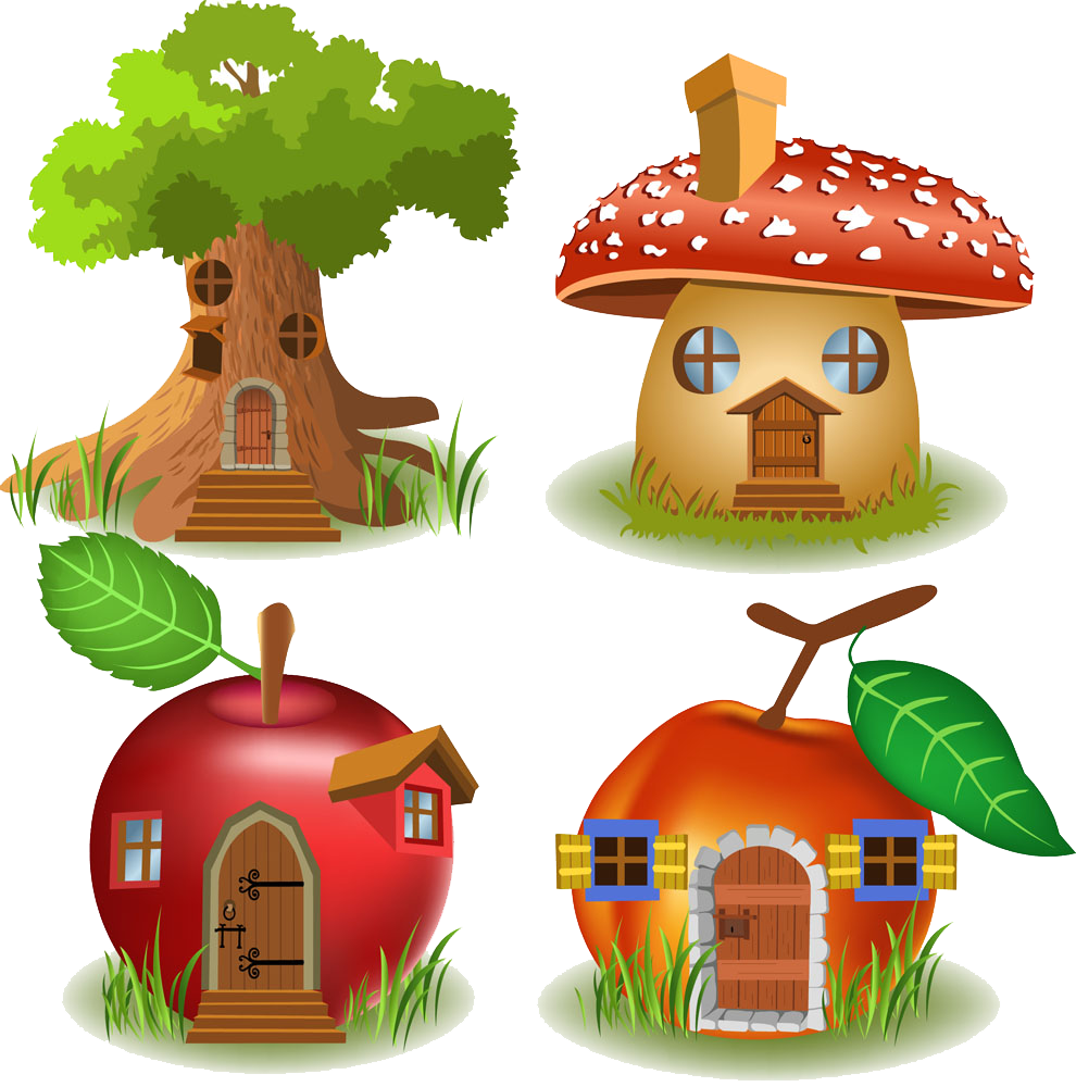 Free clipart fairy apple tree banner royalty free library Tree house Cartoon Illustration - Apple Tree Room mushroom Room ... banner royalty free library