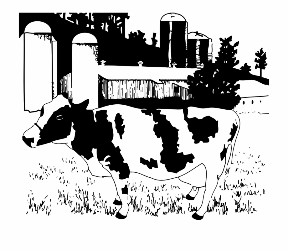 Free clipart farm animals black and white cow freeuse library Farm Animals Clipart Cattle Farm - Dairy Farm Black And White Free ... freeuse library