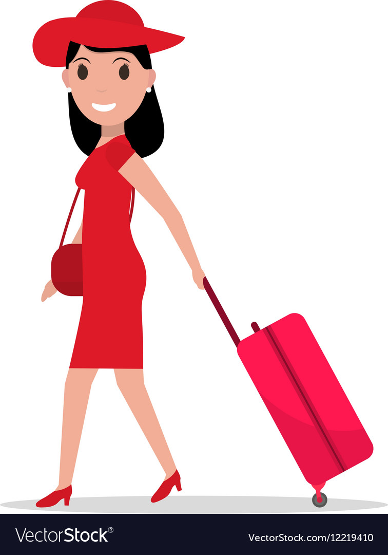 Free clipart female traveler silhouette with luggage. Cartoon fashion woman travel