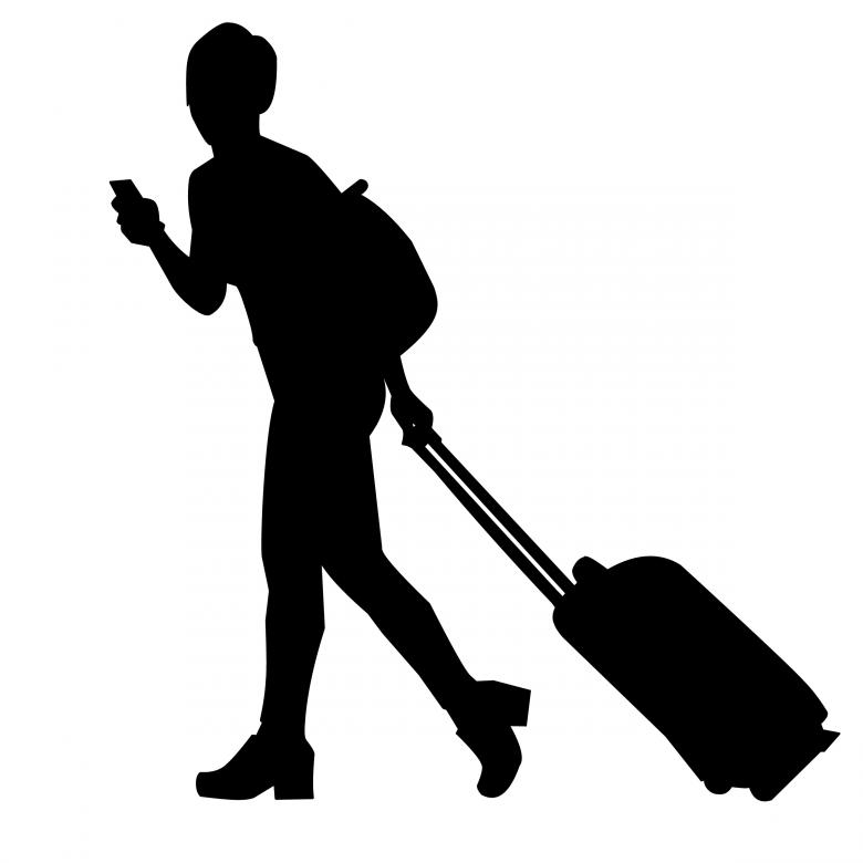 Free clipart female traveler silhouette with luggage. Of traveller stock photo