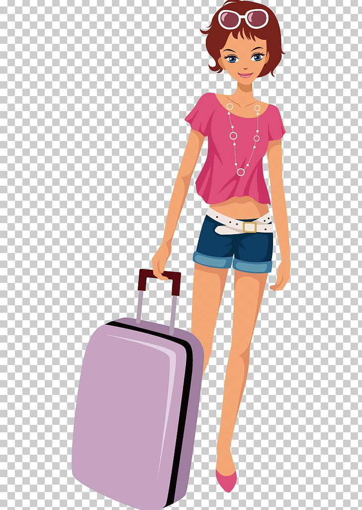 Cartoon travel suitcase baggage. Free clipart female traveler silhouette with luggage