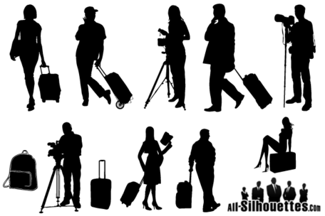 Free clipart female traveler silhouette with luggage. Vector tourists travelers silhouettes