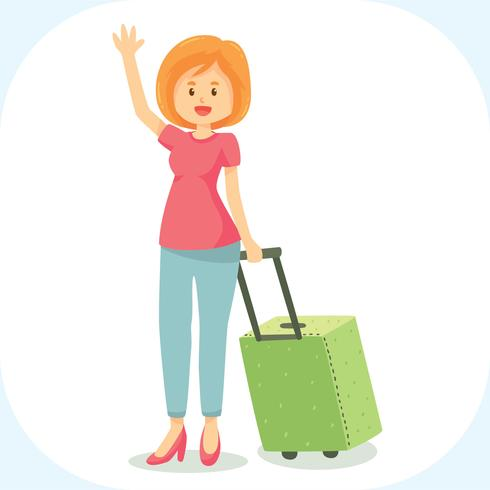 Cute woman suitcase vector. Free clipart female traveler silhouette with luggage