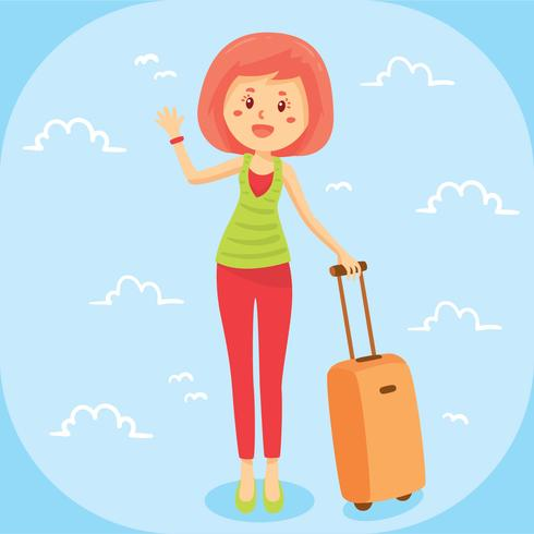 Free clipart female traveler silhouette with luggage. Beautiful woman suitcase vector