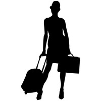 Girl girls human people. Free clipart female traveler silhouette with luggage