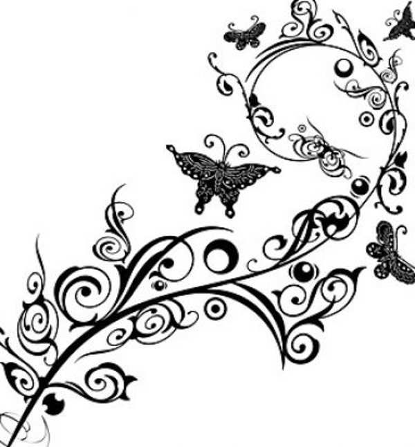 Clip art flowers reference. Free clipart flower and butterfly black and white