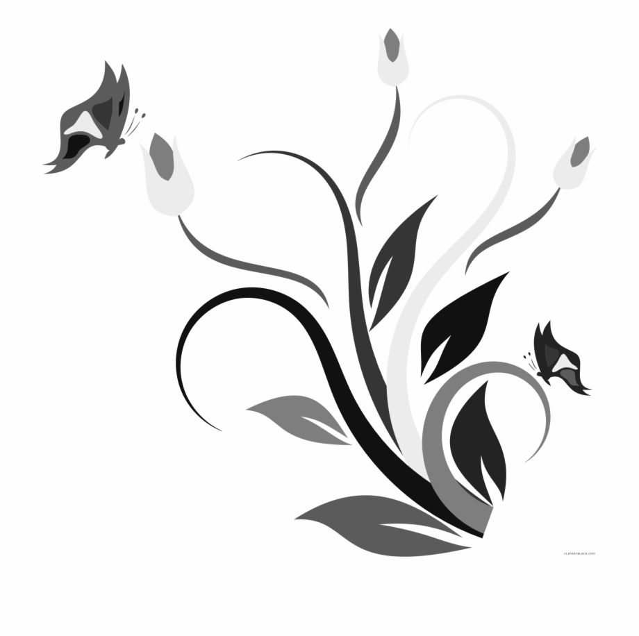 Royalty library clipartblack com. Free clipart flower and butterfly black and white