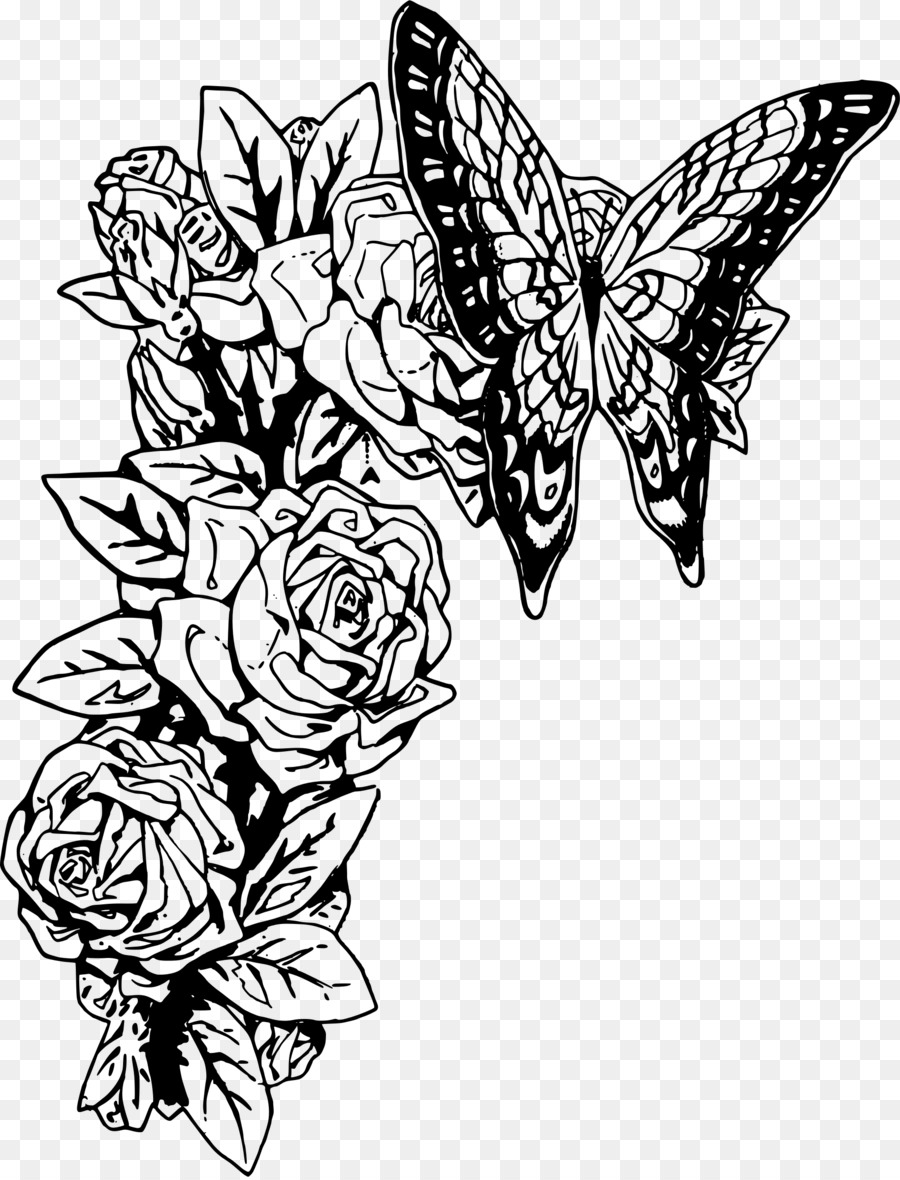 Free clipart flower and butterfly black and white