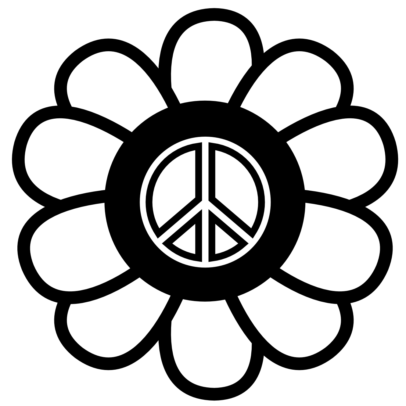 Free clipart flower black and white clipart royalty free Free Printable Peace Sign, Download Free Clip Art, Free Clip Art on ... clipart royalty free