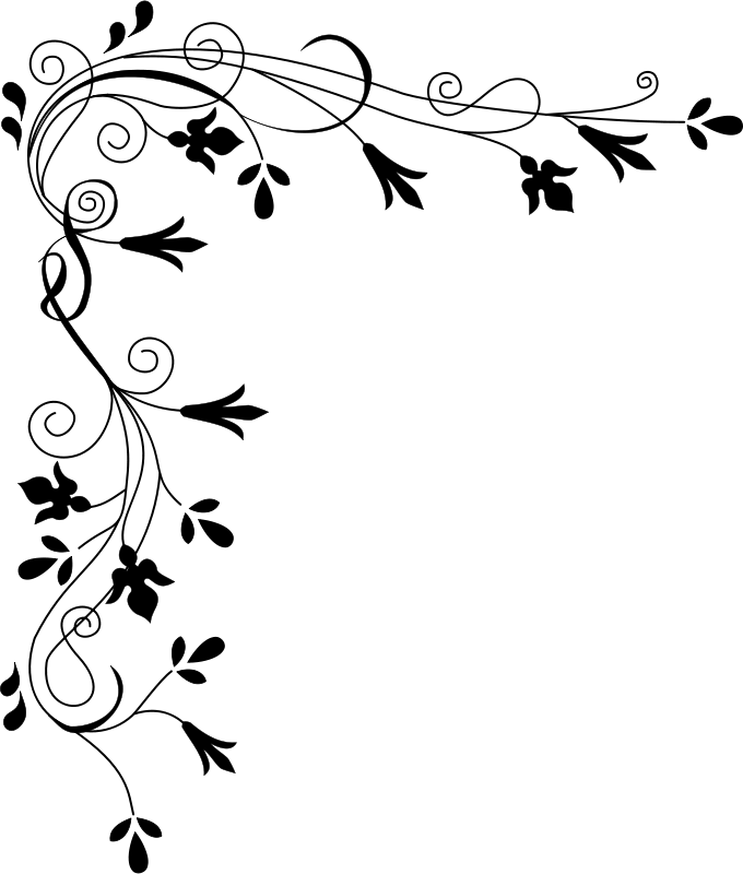 Free miniature narrow tree flowers clipart black and white clip black and white library Free Clipart: Stylized Flowers (Border) | cyberscooty clip black and white library