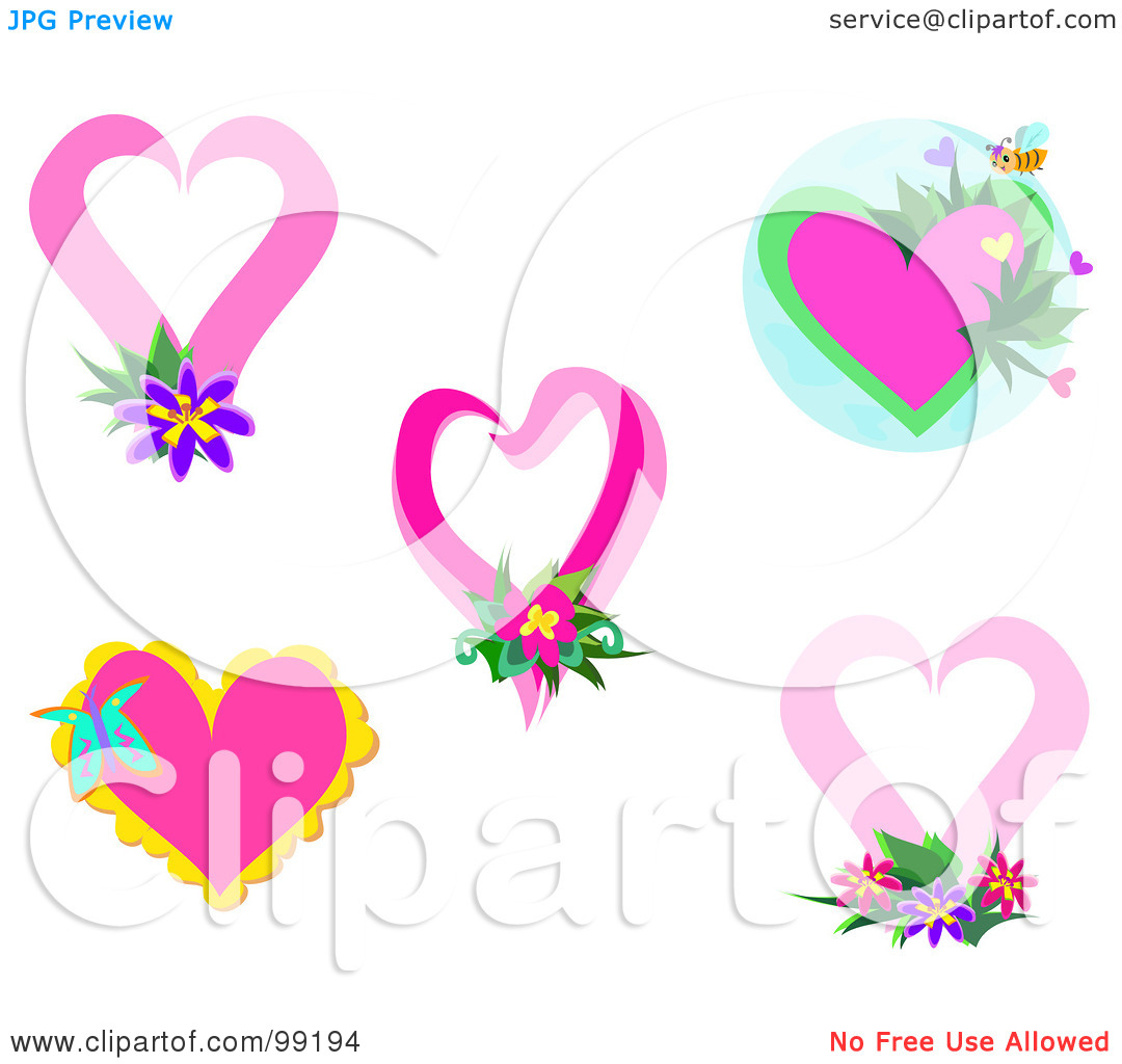 Free clipart flowers hearts vector black and white download Royalty-Free (RF) Clipart Illustration of a Digital Collage Of ... vector black and white download