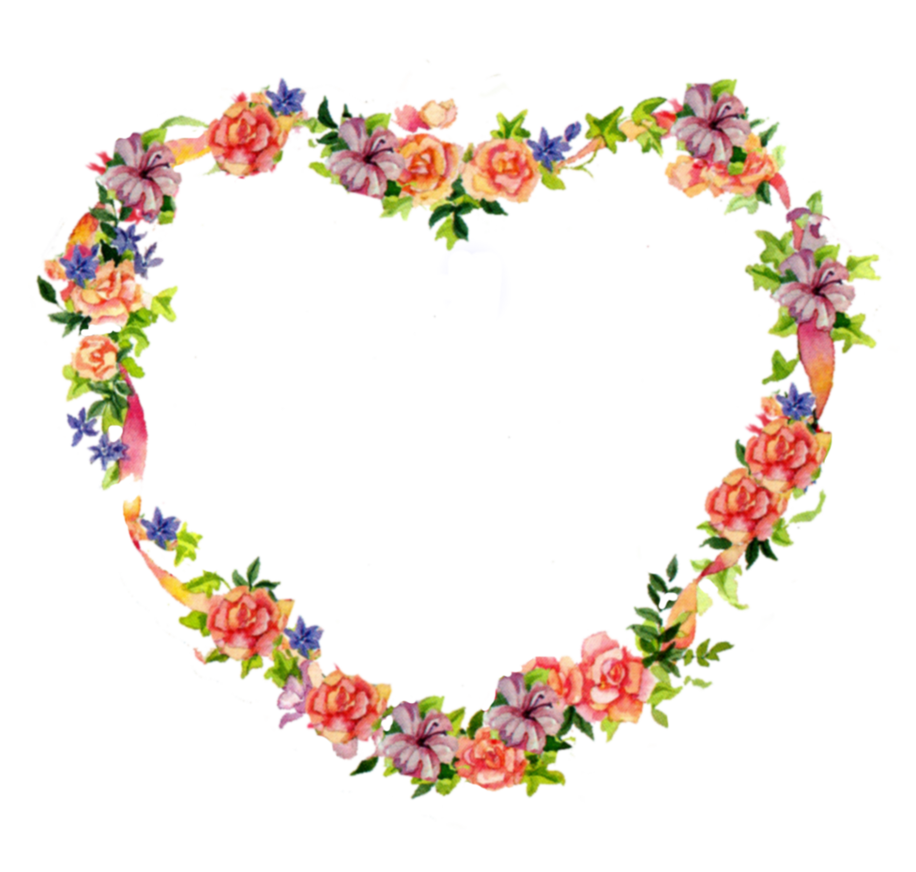 Heart and flowers clipart