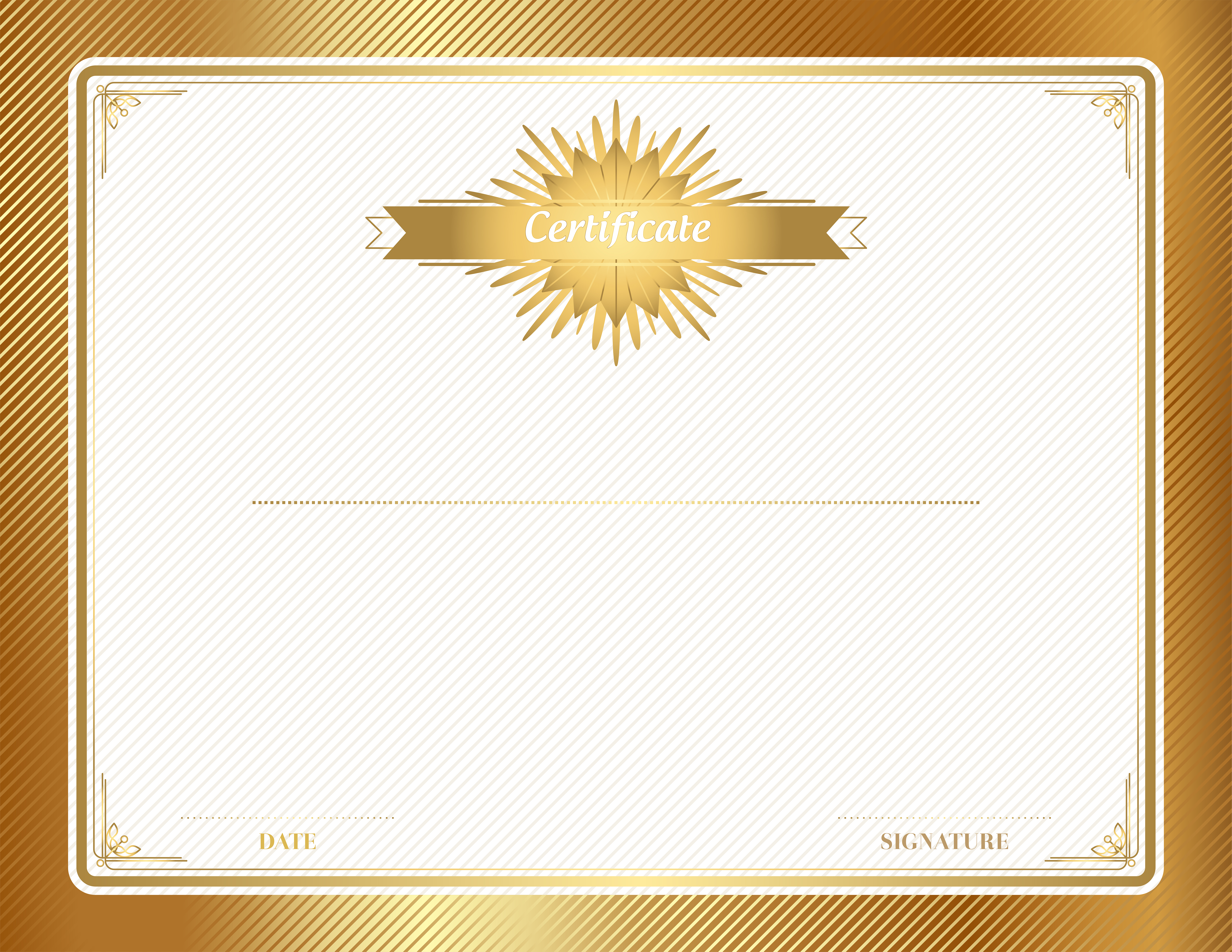 Free clipart for certificates. Gold certificate template clip