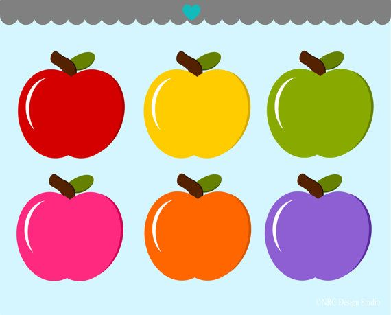 Free clipart for commercial use open half appl. Colorful apples clip art