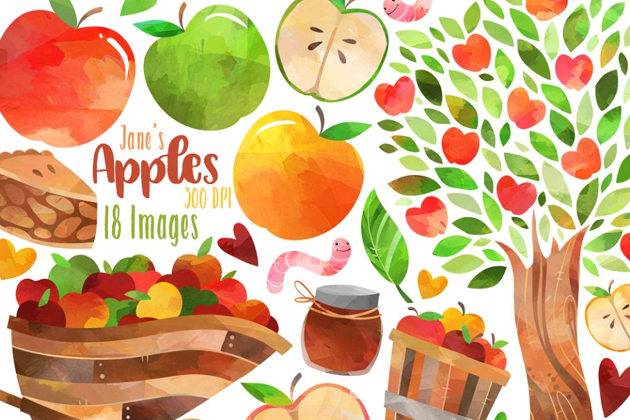 Watercolor apples illustrations creative. Free clipart for commercial use open half appl