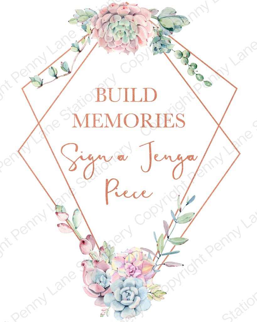 Free clipart for jenga at a wedding sign vector transparent download Abstract Copper Succulent Baby Shower Sign a Jenga Piece vector transparent download