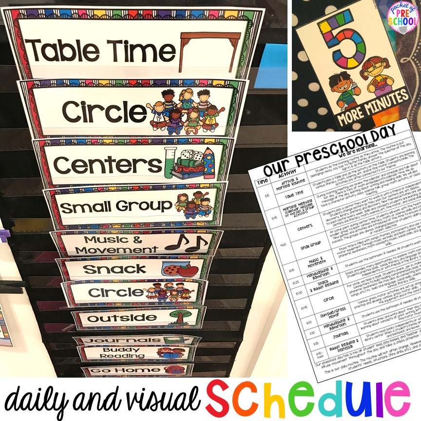 Music and movement preschool daily schedule clipart clip royalty free stock Preschool Daily Schedule and Visual Schedules - Pocket of Preschool clip royalty free stock