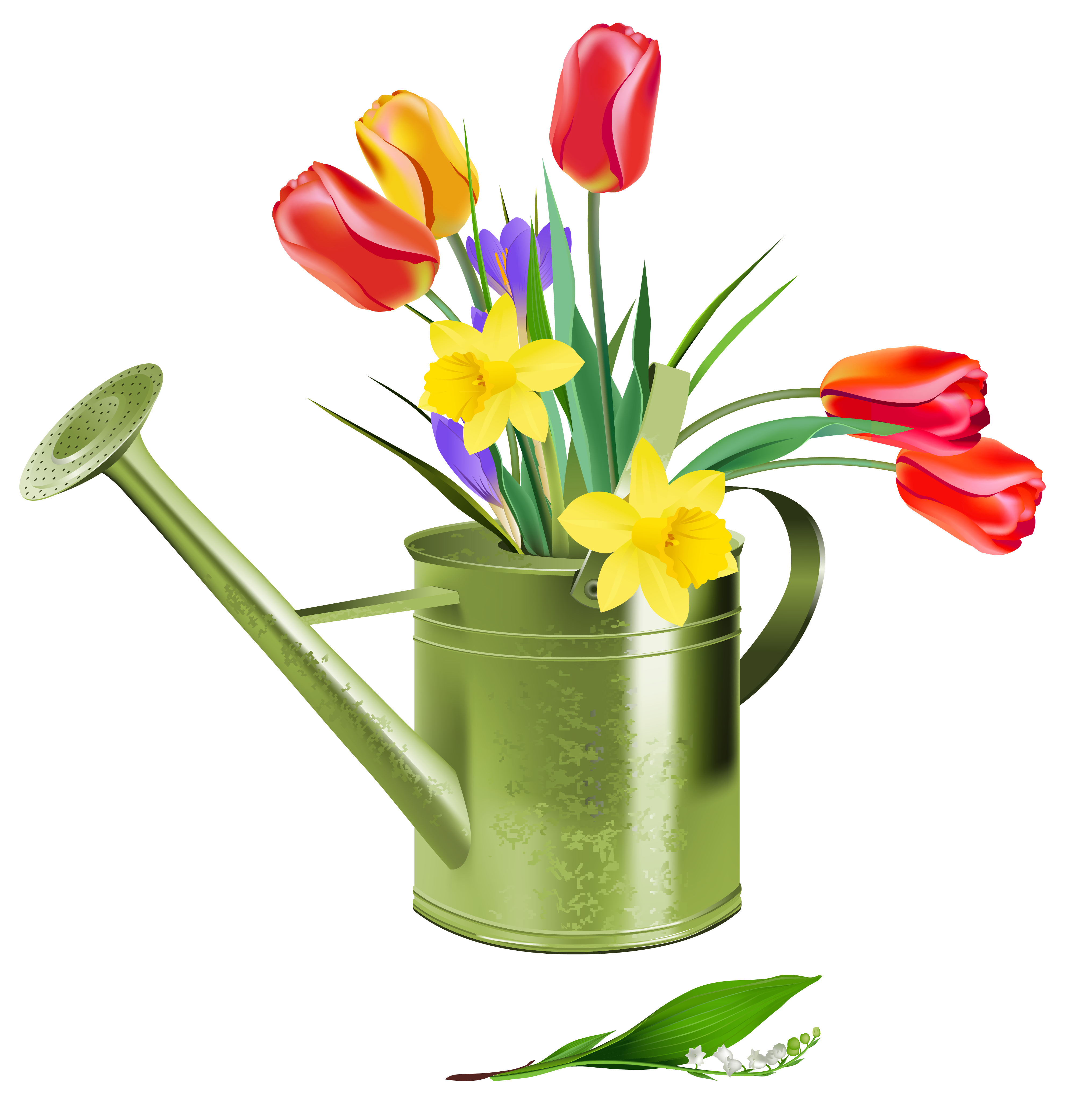 Free clipart for spring flowers clip art black and white library Green Watering Can with Spring Flowers PNG Clipart | Gallery ... clip art black and white library