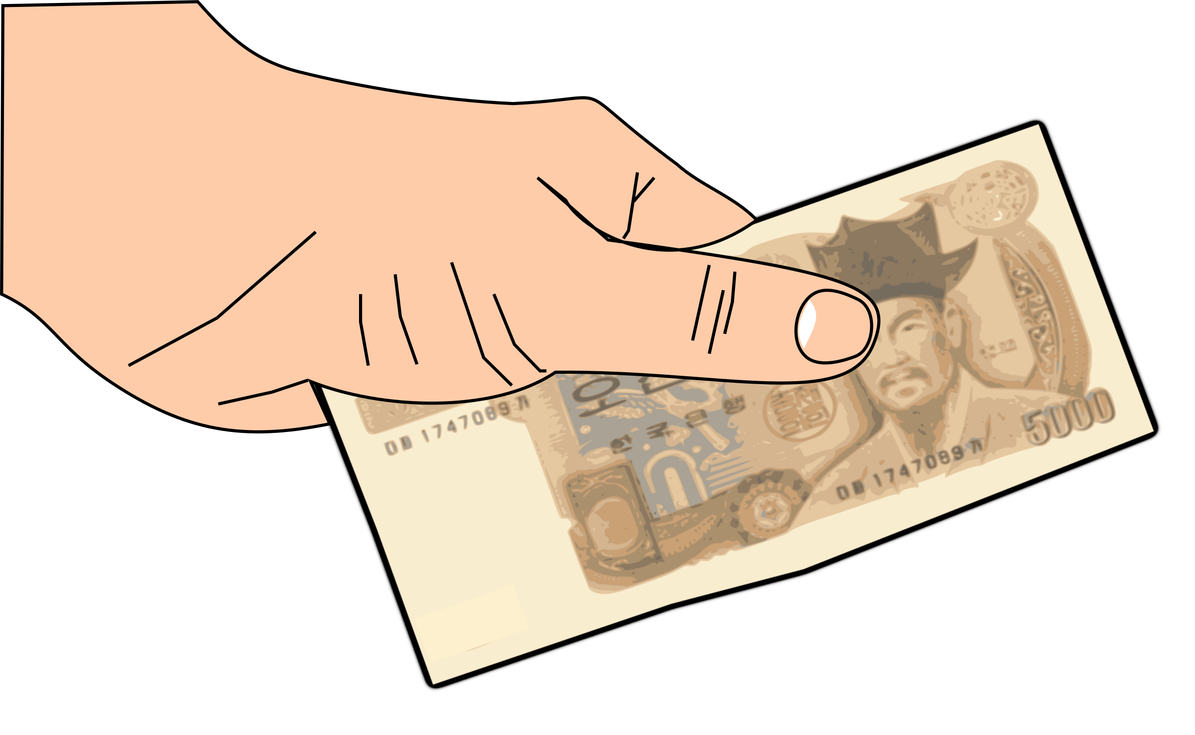Hand with money clipart image black and white download money 5000won in hand Icons PNG - Free PNG and Icons Downloads image black and white download