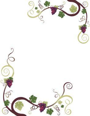 Scroll frames clipart border with watercolor ivy banner transparent stock Grape Border | crafts | Vine drawing, Vine tattoos, Borders, frames banner transparent stock