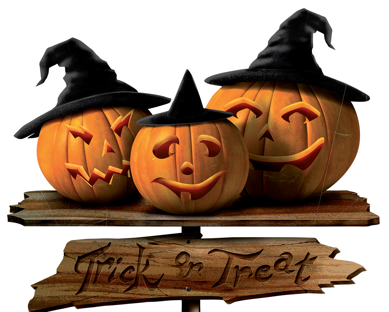 Free clipart halloween trick or treat png stock Trick or Treat Sign with Pumpkins PNG Picture | Gallery ... png stock