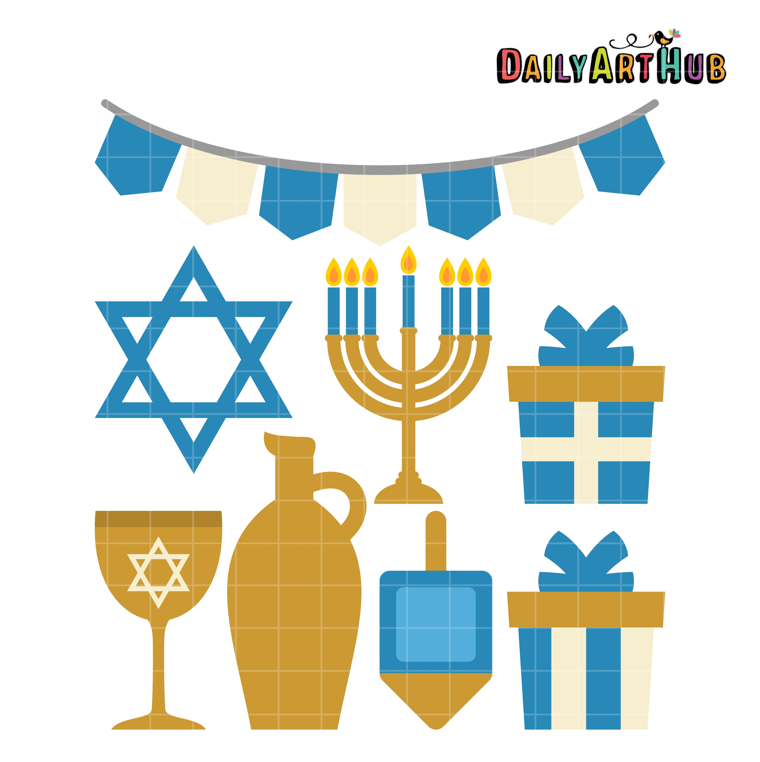 Free clipart happy hanukkah banner Happy Hanukkah Clip Art Set banner