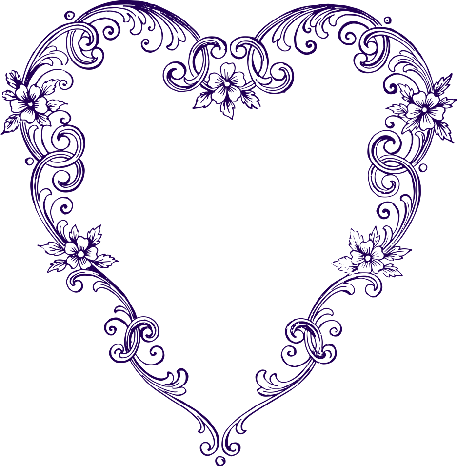Heart outline clipart free svg black and white download Free Images – Fancy Vintage Purple Heart Clip Art :: Clip Art ... svg black and white download