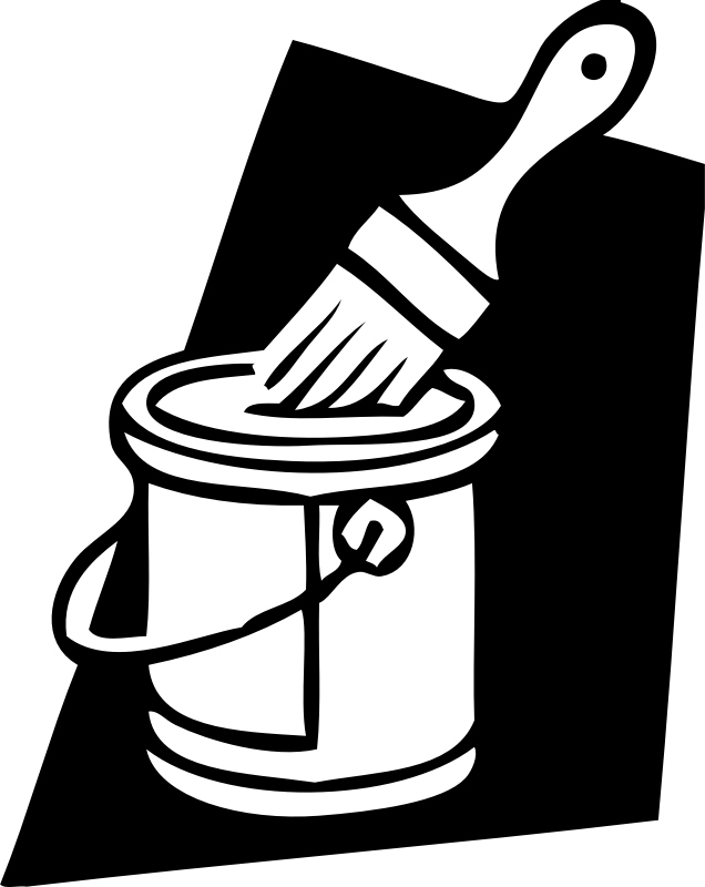 Clipart - paint can and brush png black and white stock