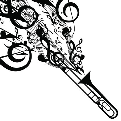 I play trombone whats your superpower clipart free svg library Vector Silhouette of Trombone with Musical Symbols. Includes EPS 10 ... svg library
