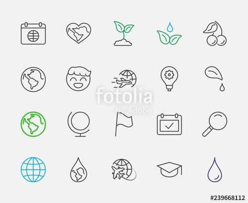 Free clipart icons 32x32 jpg black and white library Earth Day Vector Line Icons Set. Editable Stroke. 32x32 Pixel ... jpg black and white library
