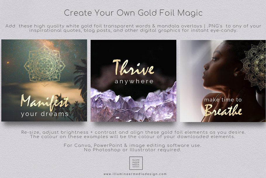 Free clipart image quotes power of desire jpg library download Gold Foil Power Words & Mandalas ~ Graphic Objects ~ Creative Market jpg library download