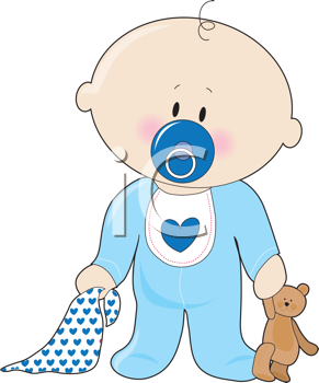 Free clipart images baby boy png free stock Royalty Free Clipart Image of a Baby Boy With a Soother, Teddy Bear ... png free stock