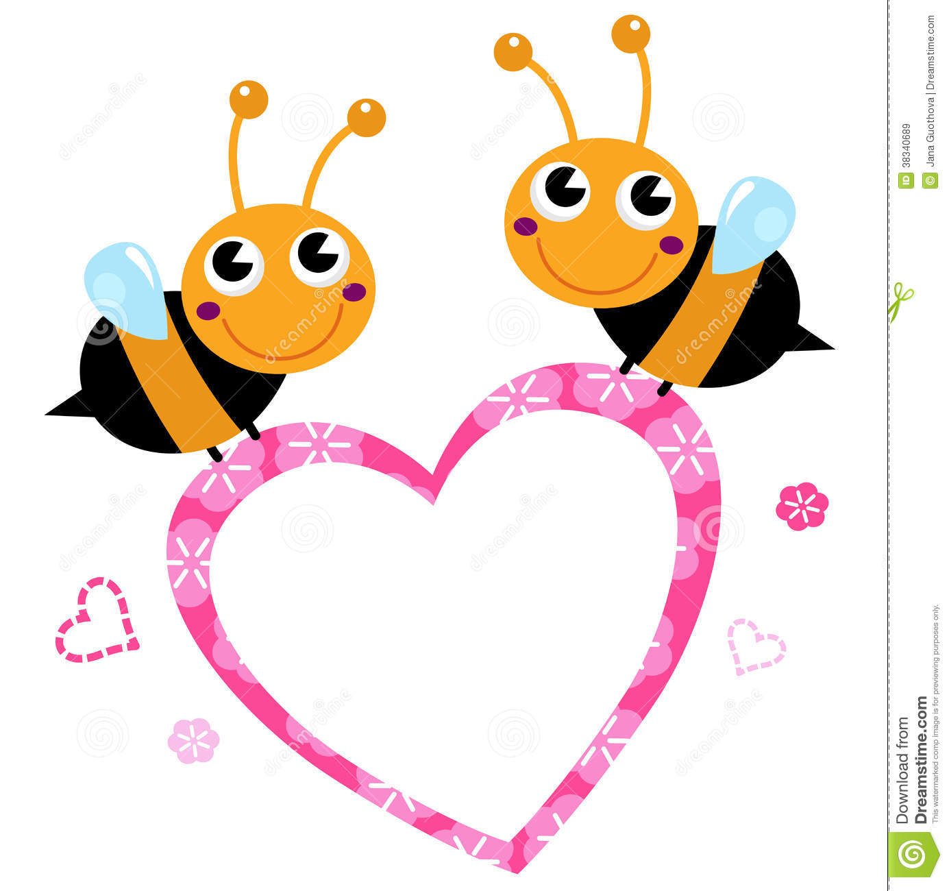 Free clipart images bees hearts graphic transparent download Cute Flying Bees With Pink Love Heart Royalty Free Stock Images ... graphic transparent download