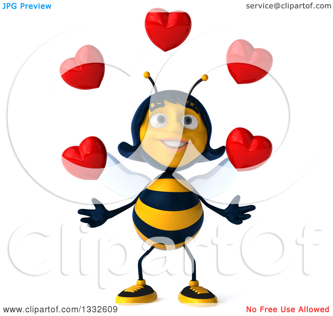 Free clipart images bees hearts banner freeuse library Clipart of a 3d Female Bee Juggling Love Hearts - Royalty Free ... banner freeuse library