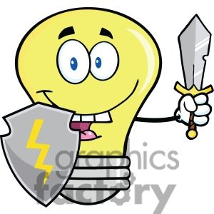 Free clipart images light bulb clip art black and white library 6117 Royalty Free Clip Art Light Bulb Guarder With Shield And Sword ... clip art black and white library