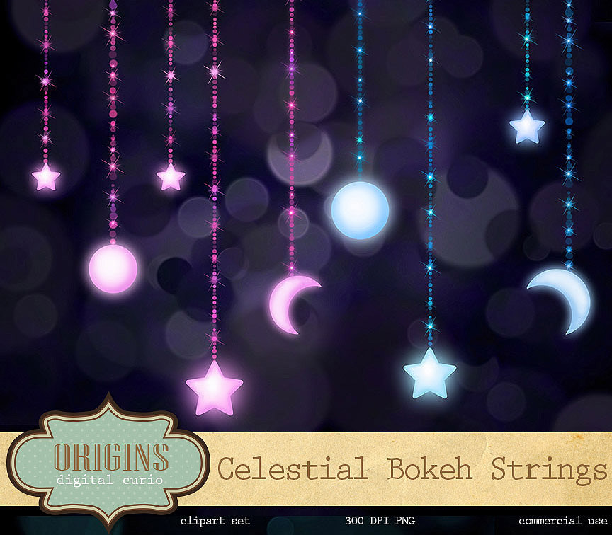 Free clipart images moon with stars on a string clip library download Celestial Clipart - Moon and Stars Bokeh Strings Clip Art clip library download